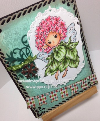 Hydrangea Sprite, Spellbinders Gold Labels Four, MFT Banners, MFT Four Corners, MME